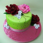 Green Cake with 3 Large Flowers