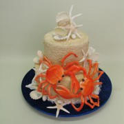Beach Wedding Cake with Double Crabs