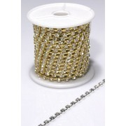 Single Diamonte Chain 1440 Stone Gold Per Metre (M8488)