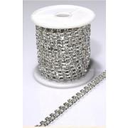 Twin Diamonte Chain 294 Stone Silver  Per Metre (M8490)