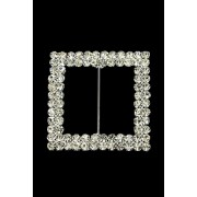 Square Double Sash Buckle Diamonte 47x47mm (M8514)