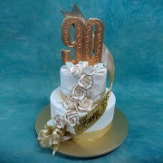 2 Tier 90Th Birthday Cake