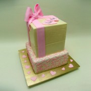 White Chocolate And Pink Cube Cake