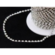 Single Diamonte Chain 1440 Stone Silver Per Metre (M8488)