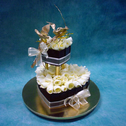 2 tier heart shape chocolate cake