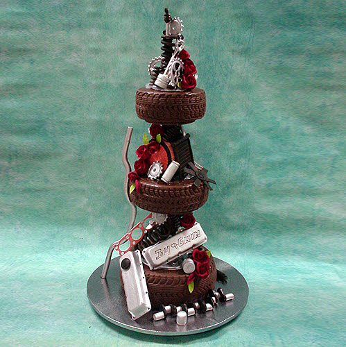 3-tier-car-parts-wedding-cake