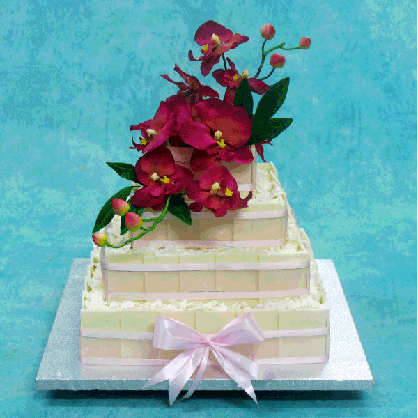 quare-chocolate-wedding-cake-with-fresh-orchids